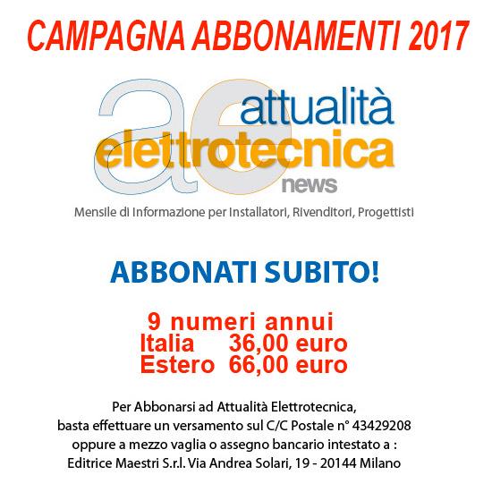 Attualità Elettritecnica campagna abbonamenti 2017